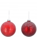 Glass ball Leh, 2 colors, D10cm, red / dark red